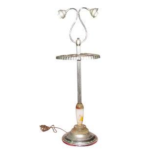 Deco Blown Glass & Nickel Floor Lamp