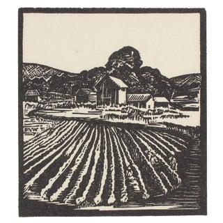 1940s Vintage Farm Linoleum Block Print by Mary Watterick Evans