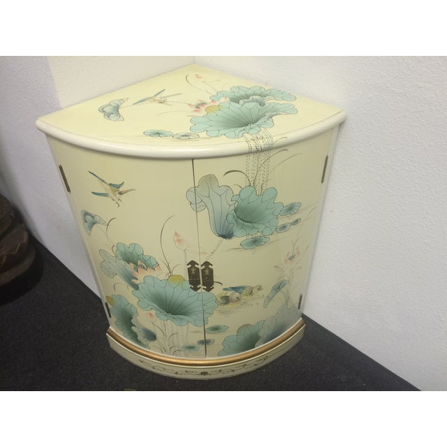 Asian White Lacquer Hand-Painted Corner Cabinet - Image 4 of 6