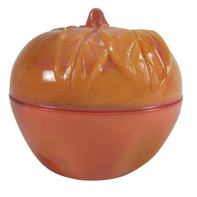 Slag Glass Peach Shaped Box Vintage - Image 1 of 8