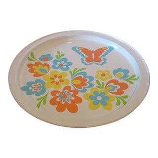 Mid-Century Modern Flower Power Tin Tray