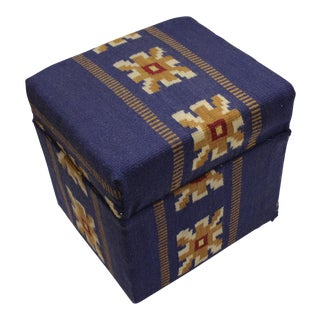 Arya Coleman Blue/Ivory Kilim Upholstered Handmade Ottoman