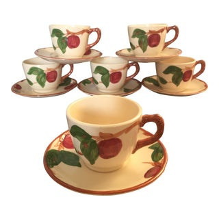 Vintage Franciscan Apple Pattern Cups and Saucers - Set of 6