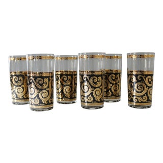 6 Culver Baroque Highball Glasses Gold Back Scroll Mid Century Barware