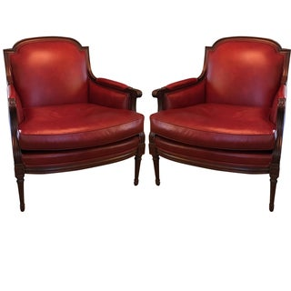 French Bergere Leather Chairs - Pair