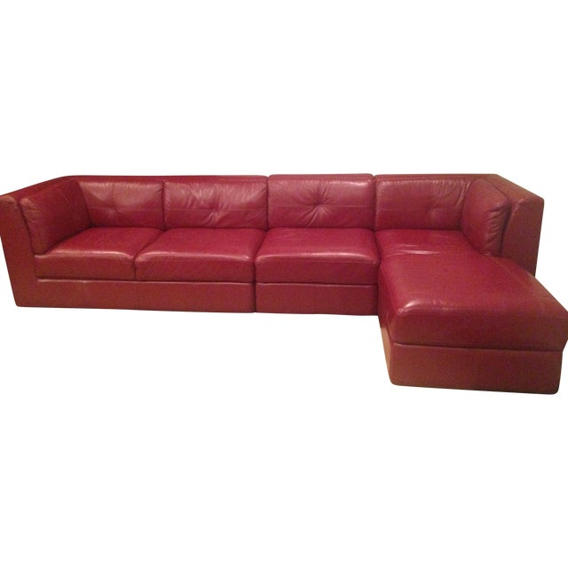 Red Designer Leather Sofa - Image 1 of 4