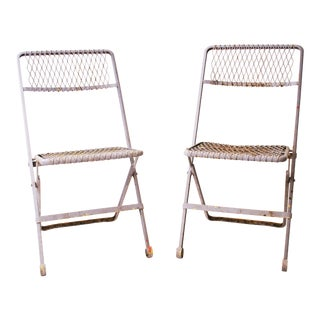 Vintage Purple Mesh Folding Metal Chairs - A Pair
