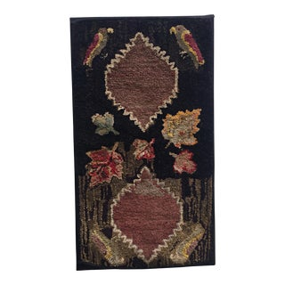 """Early 20th Century Antique American Folk Art Hooked Mounted Rug -- 2'1"""" x 3'9"""""""