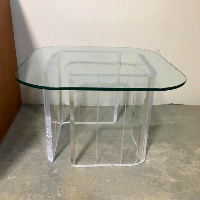 Lucite & Glass Side Table - Image 4 of 4