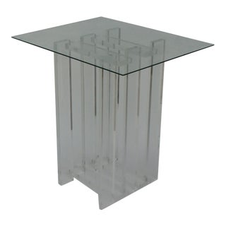Vintage Lucite Pedestal Side Table