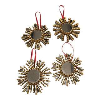 Wood Sunburst Mirror Ornaments - Set of 4