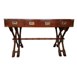 Campaign Style Double X Base Writing Desk