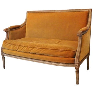 French Louis XVI Style Small Sofa with an Old Painted Finish