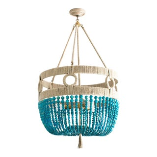 Ro Sham Beaux Turquoise and Gold Beaded Malibu Frankie Chandelier