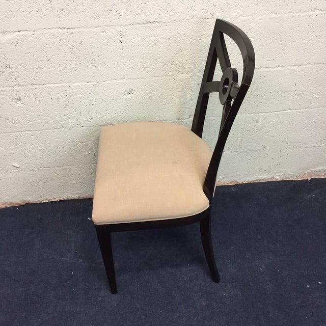 Beige & Espresso Side Chair - Image 4 of 8