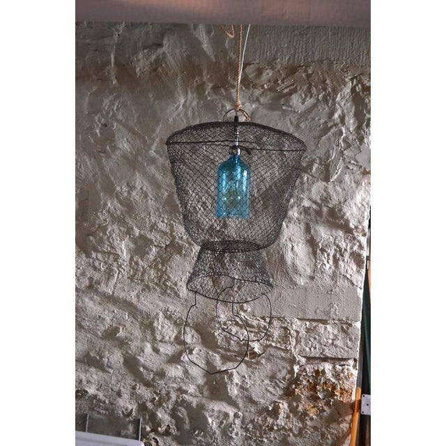 Pendant Light from Seltzer Bottle Suspended in French, Steel Mesh Fish Basket - Image 11 of 11