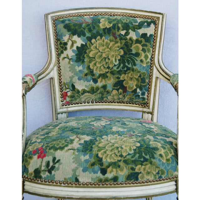 Scalamandre Marly Velvet Tapestry Fabric Armchair - Image 5 of 11
