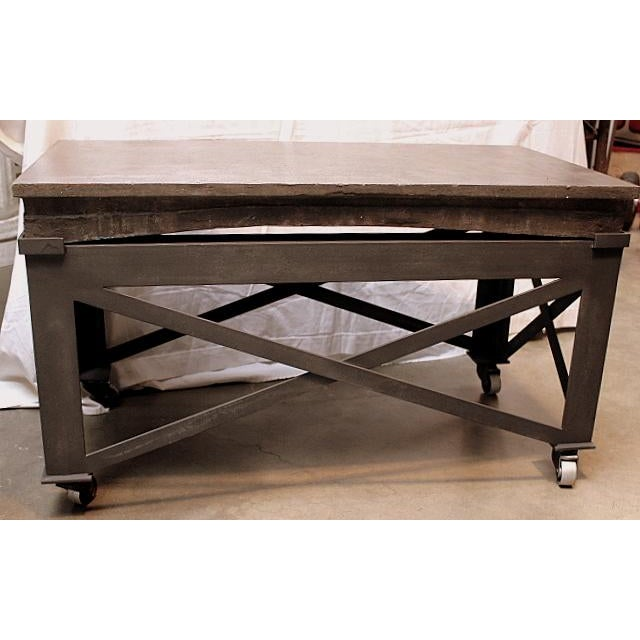 Vintage Industrial Rolling Coffee Table - Image 2 of 3