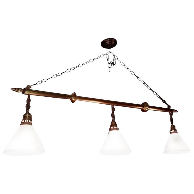 1930s Vintage Brass Billiard, Snooker Or Pool Table Light