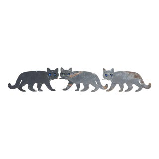 Black Cats with Marble Eyes - Set of 3