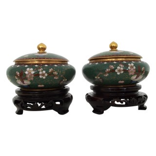 Vintage Chinese Cloisonne Trinket Boxes - a Pair
