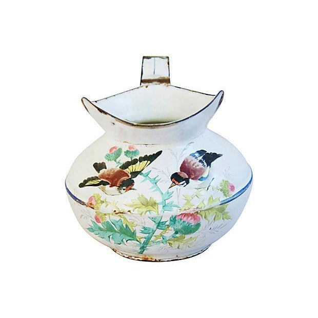 Image of Antique 1930s French Painted Porcelain Pitcher