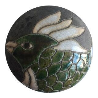 Bird Motif Round Ceramic Lidded Box