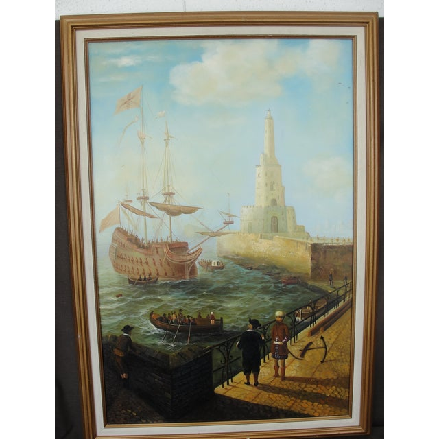 """""""Merchant Ship in Port"""" Painting - Image 2 of 10"""