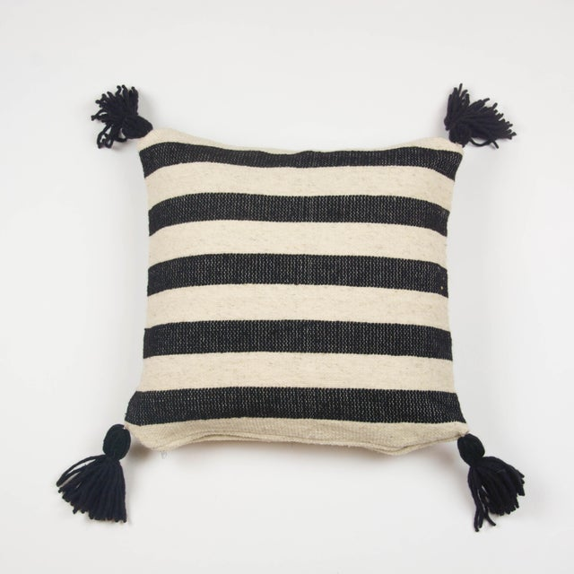 Mexican Black & White Stripe Wool Throw Pillow - Image 2 of 4