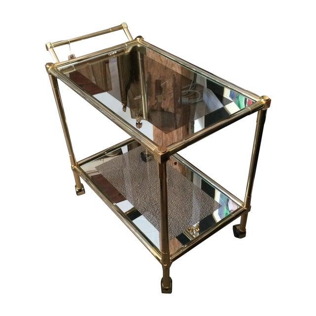 mid century modern brass and glass bar cart chairish. Black Bedroom Furniture Sets. Home Design Ideas