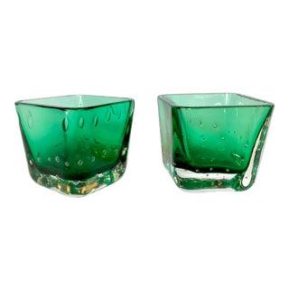 Emerald Green Votives by Erickson - A Pair