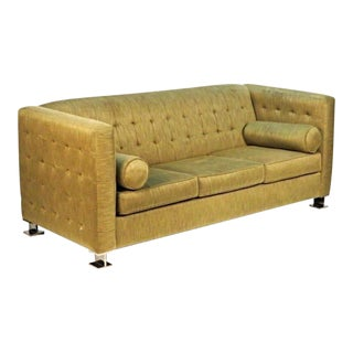 Ward Bennett Chrome Leg Upholstered Sofa
