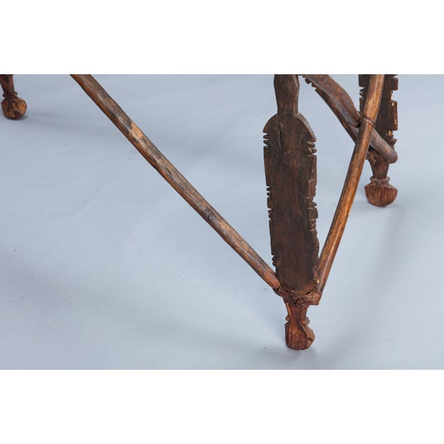 North African Carved Wood Table With Glass Top - Image 8 of 8