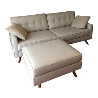 Mid-Century Style Custom Loveseat Sofa and Ottoman