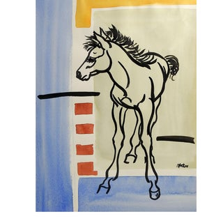 "Modernist ""Colt"" Watercolor Abstract Painting"