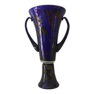 Blue Hand Blown Glass Vase
