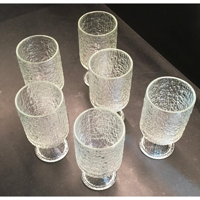 Vintage 1970s Indiana Textured Crystal Ice Pattern Water Goblets - Set of 6 - Image 4 of 6