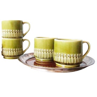 Green Drip Glaze Mugs & Tray - Set of 4