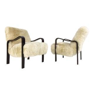Forsyth Thonet Brazilian Sheepskin Armchairs - a Pair
