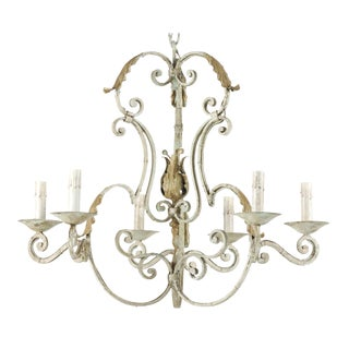 A French Vintage S-Scroll Iron Six-Light Chandelier with Acanthus Leaf Motifs