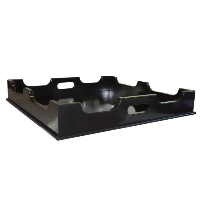 "Image of Oomph ""Edgartown"" Square Black Lacquer Tray"