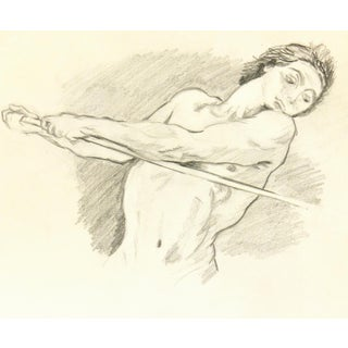 Vintage 1930 Original Male Stance Pencil Drawing