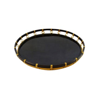 Vintage Black Lacquer Pearl & Bamboo Tray