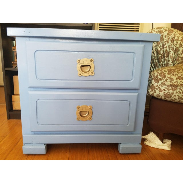 Handpainted Light Blue Nightstands - a Pair - Image 3 of 6