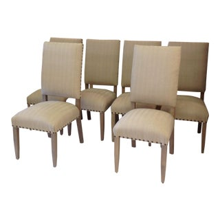 Collette Herringbone Linen Dining Chairs - Set of 6