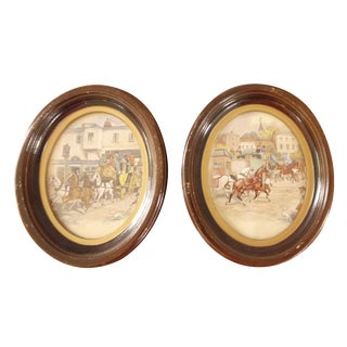 Horse Drawn Carriage Oval Framed Art - Set of 2