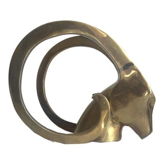 Brass Ibex Head Statue Bookend