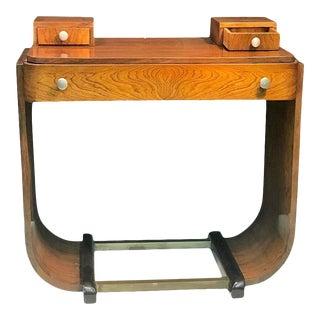 Paul Frankl Style Art Deco U-Base Wood & Nickeled Bronze Console