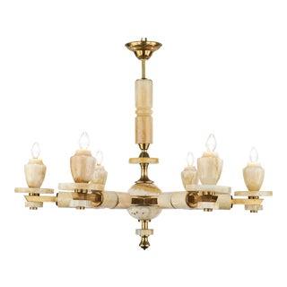 Vintage Italian Brass Onyx Chandelier