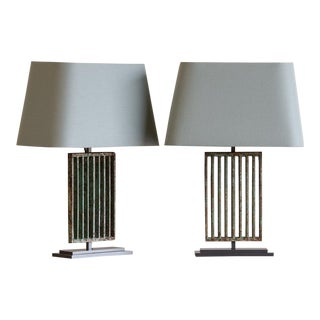 Pair Art Deco Period Solid Iron Vintage French Grilles circa 1930, Original Painted Finish, Mounted as Custom Lamps